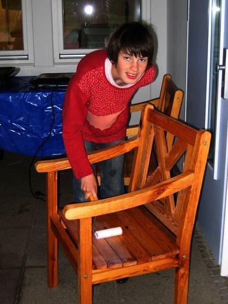 Arbeiten für die neue Sitzecke