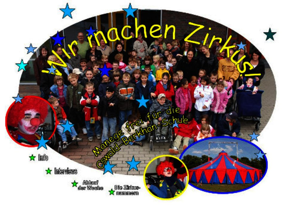 """Das Foto zeigt einen Clown, das Zirkuszelt und viele Schülerinnen und Schüler. Dazu die Überschrift: Wir machen Zirkus"""""""