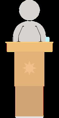 Ein Redner an einem Rednerpult