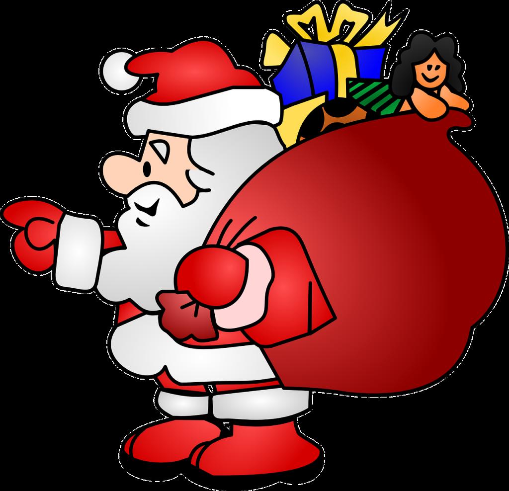 Pictogramm eines Nikolauses von der Seite mit großem Geschenkesack auf dem Rücken